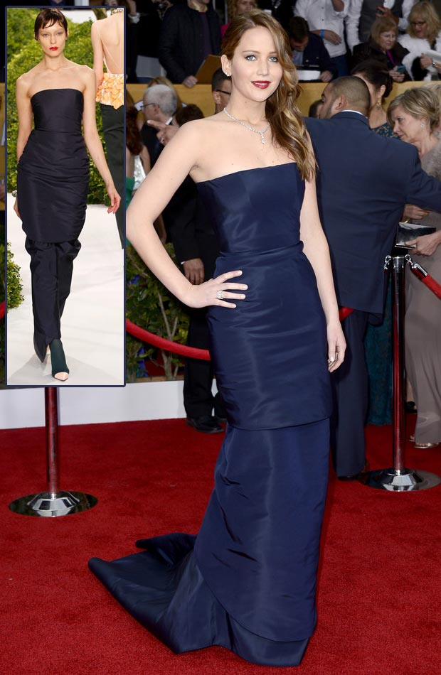 Jennifer Lawrence's Dior Couture Blue Dress, 2013 SAG Awards Winner