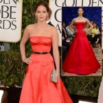 Jennifer Lawrence Dior Couture red dress 2013 Golden Globes