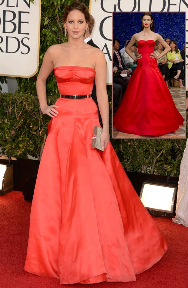 Jennifer Lawrence's Red Dior Couture Dress 2013 Golden Globes
