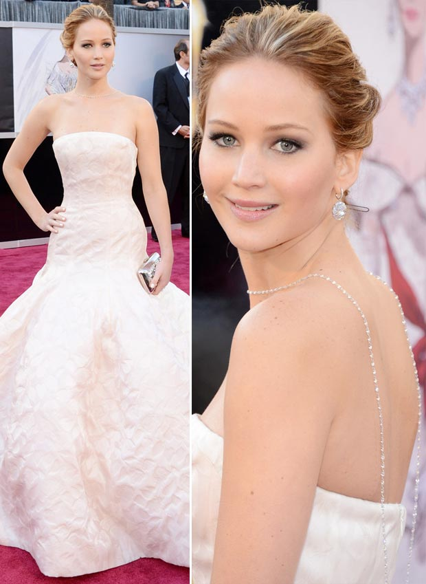 Jennifer Lawrence Dior dress back necklace 2013 Oscars