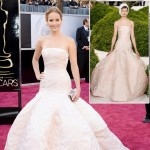 Jennifer Lawrence Dior light pink dress 2013 Oscars