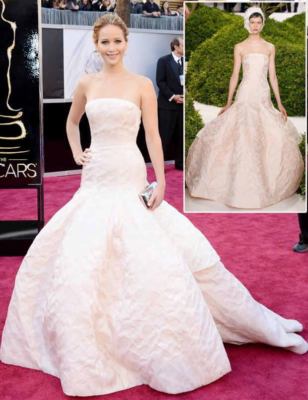2013 Oscars Fashion: Jennifer Lawrence Light Pink Dior Couture Dress
