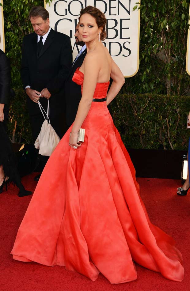 Jennifer Lawrence Dior red dress 2013 Golden Globes