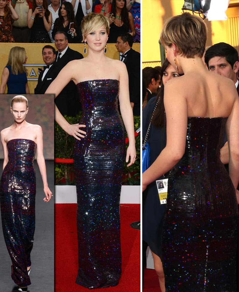 Jennifer Lawrence Dior sequins dress 2014 SAG Awards