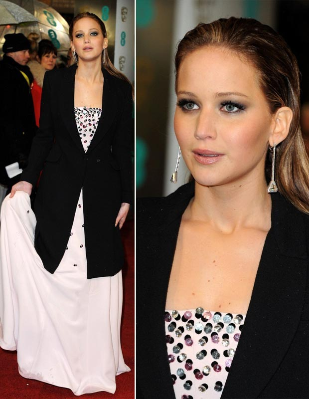 Jennifer Lawrence dress Jewelry 2013 BAFTA