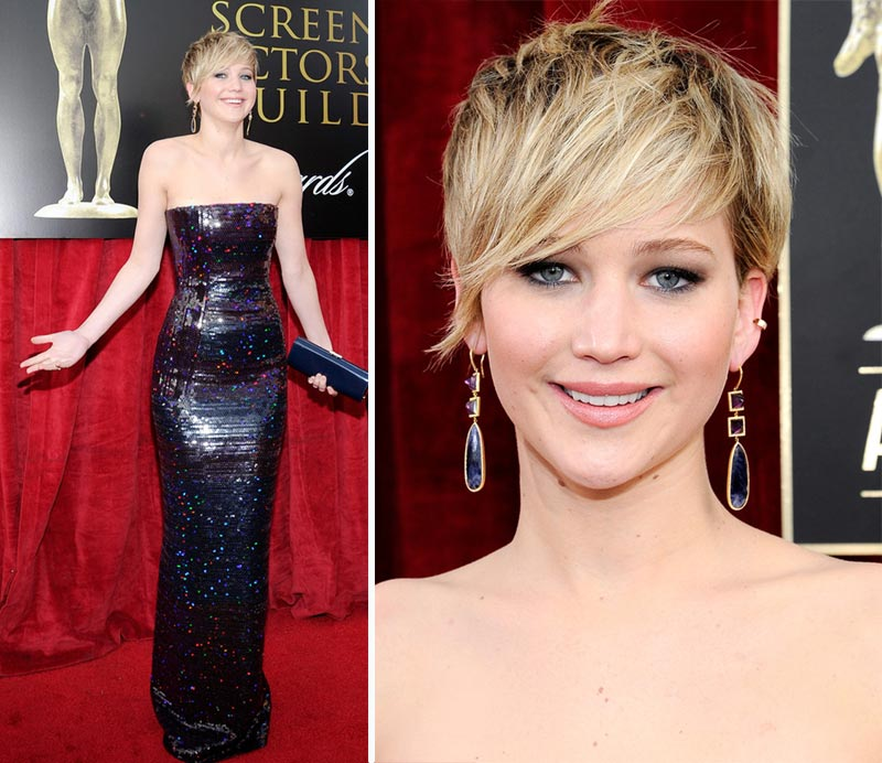 Jennifer Lawrence hair makeup 2014 SAG Awards