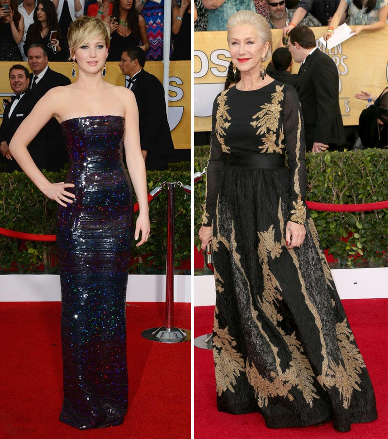 Jennifer Lawrence Helen Mirren  black dresses SAG Awards