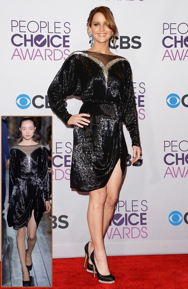 Jennifer Lawrence Valentino sequined black dress People s Choice Awards 2013