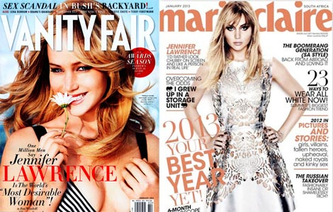 Jennifer Lawrence Vanity Fair Marie Claire cover 2013