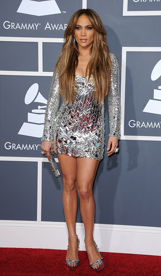 Jennifer Lopez silver dress 2011 Grammy Awards 1
