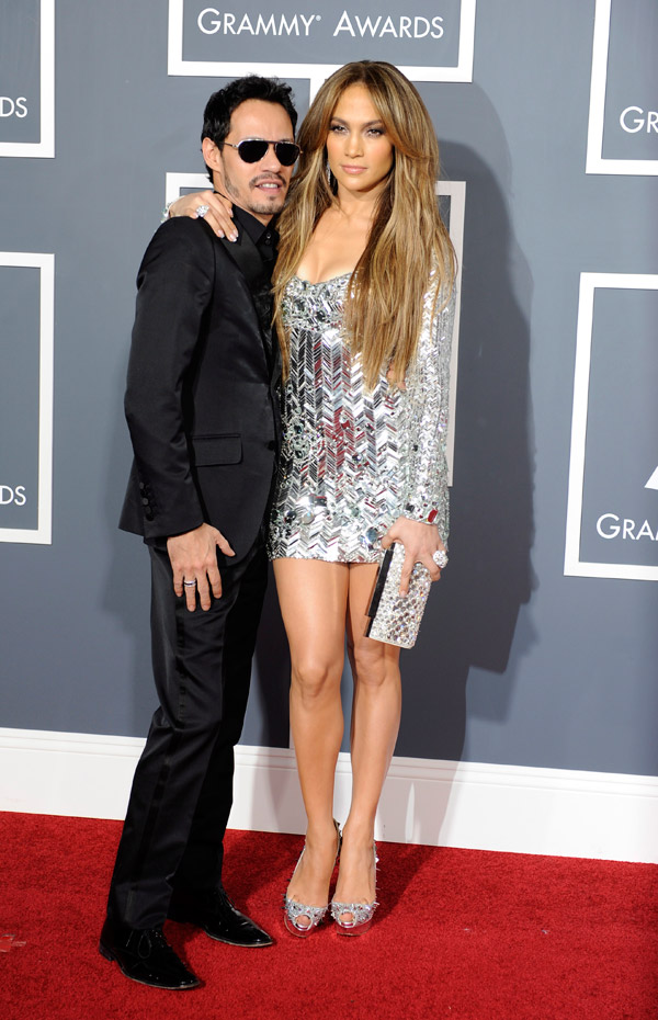 Jennifer Lopez silver dress 2011 Grammy Awards husband Marc Anthony 1