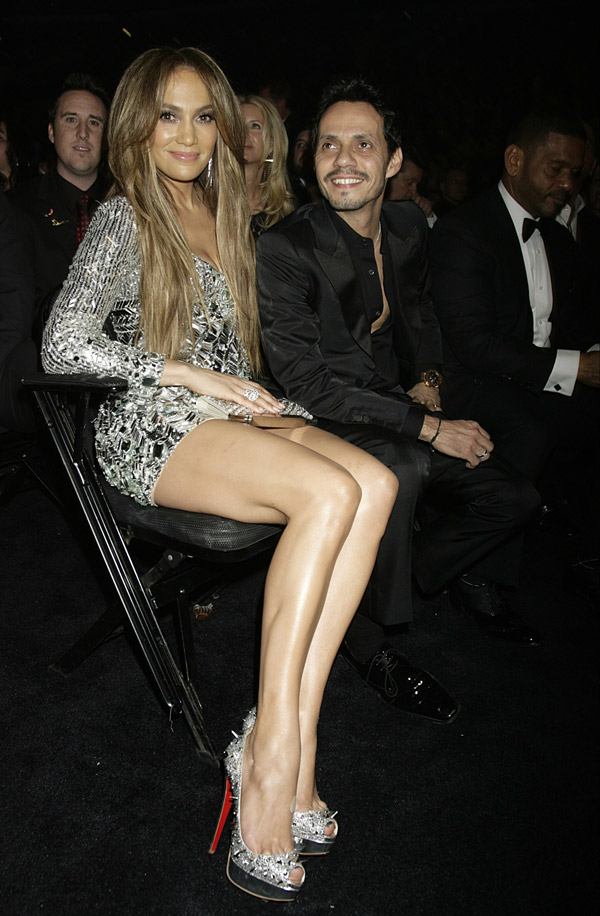 Jennifer Lopez In Silver Sequined Emilio Pucci Dress At 2011 Grammy Awards