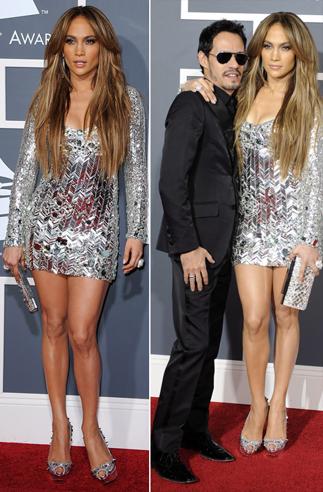 jennifer lopez 2011 grammys. Jennifer Lopez silver dress