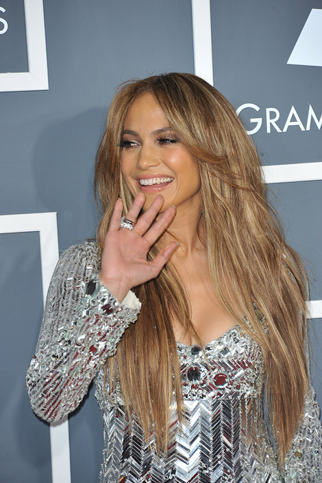 Jennifer Lopez Emilio Pucci silver dress 2011 Grammy Awards