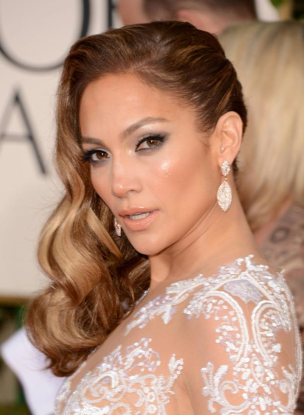 Jennifer Lopez Zuhair hair makeup 2013 Golden Globes