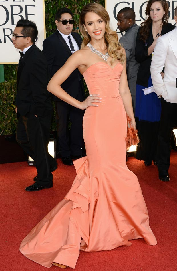 Jessica Alba de la Renta peachy dress 2013 Golden Globes