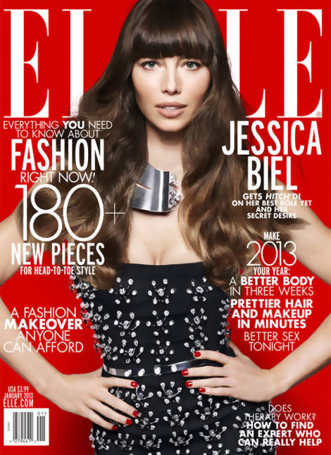 Jessica Biel Elle January 2013 cover