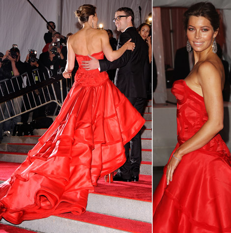 jessica biel red versace dress met 2009