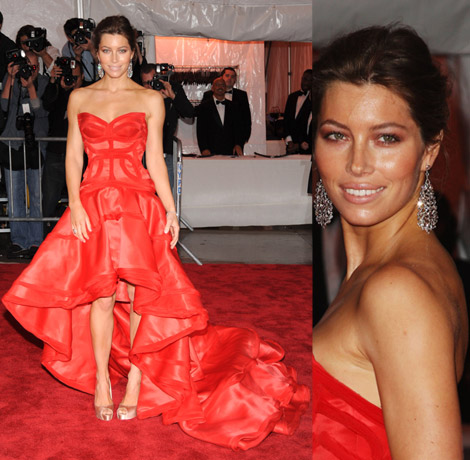Jessica Biel In Red Versace Dress At Met Gala 2009