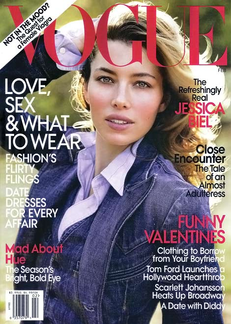 Vogue February 2010: US Jessica Biel Vs Paris Daria Werbowy