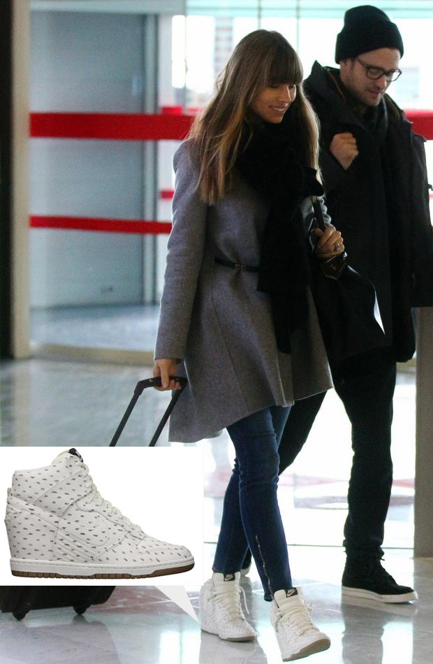 Jessica Biel wears Nike Dunk Sky High white sneakers