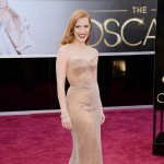 Jessica Chastain Armani Prive bronze dress Oscars 2013