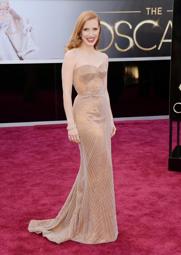 Jessica Chastain In Armani Prive Bronze Dress, Oscars 2013