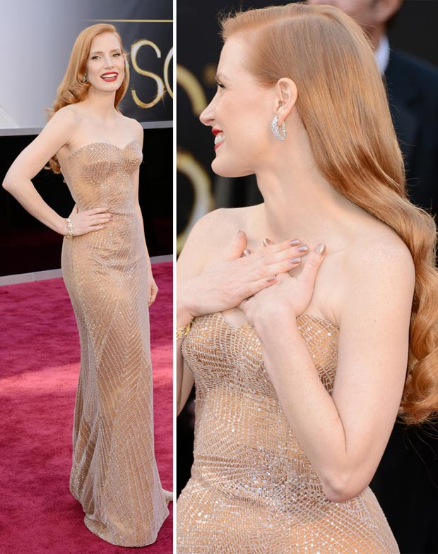 Jessica Chastain Armani Prive dress Oscars 2013