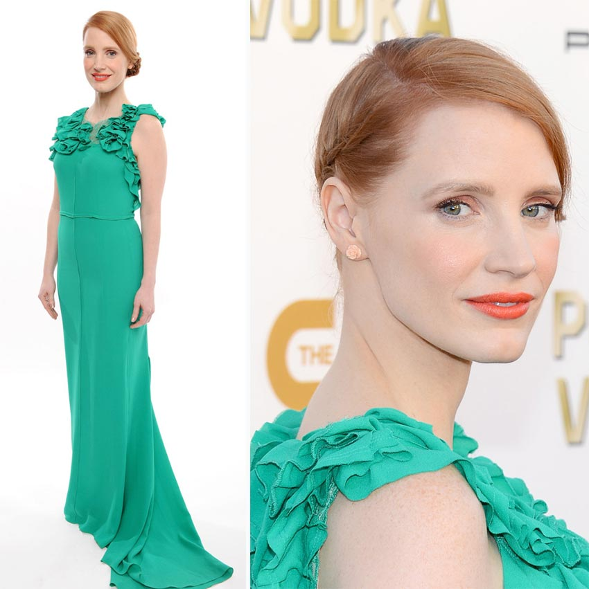 Jessica Chastain dress hair 2014 Critics Choice Awards