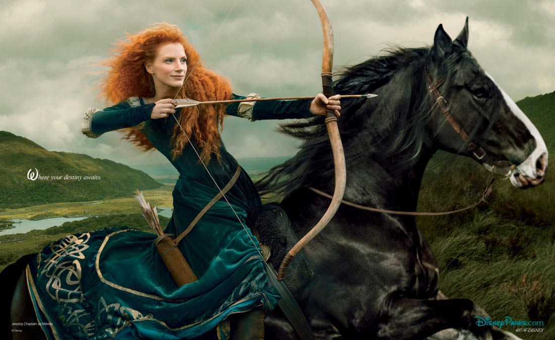 Jessica Chastain Merida Disney portrait by Annie Leibovitz