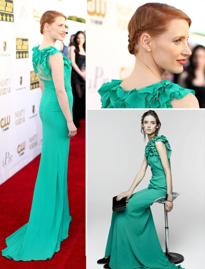Jessica Chastain Nina Ricci green dress braided hairdo Critics Choice Awards