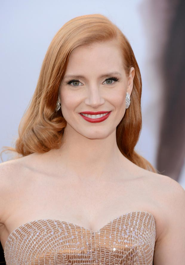 Jessica Chastain Oscars 2013 makeup hair