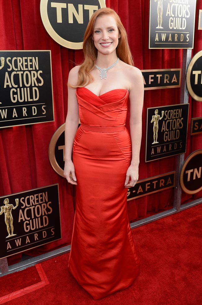 Jessica Chastain red McQueen dress 2013 SAG Awards