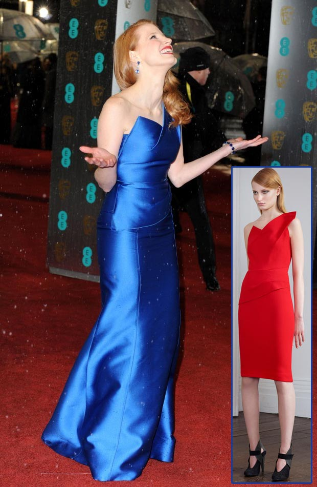 Jessica Chastain Roland Mouret blue dress 2013 BAFTA