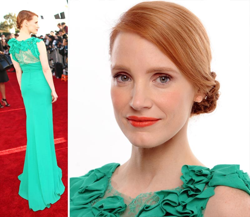 Jessica Chastain ruffled green dress hair Critics Choice Awards