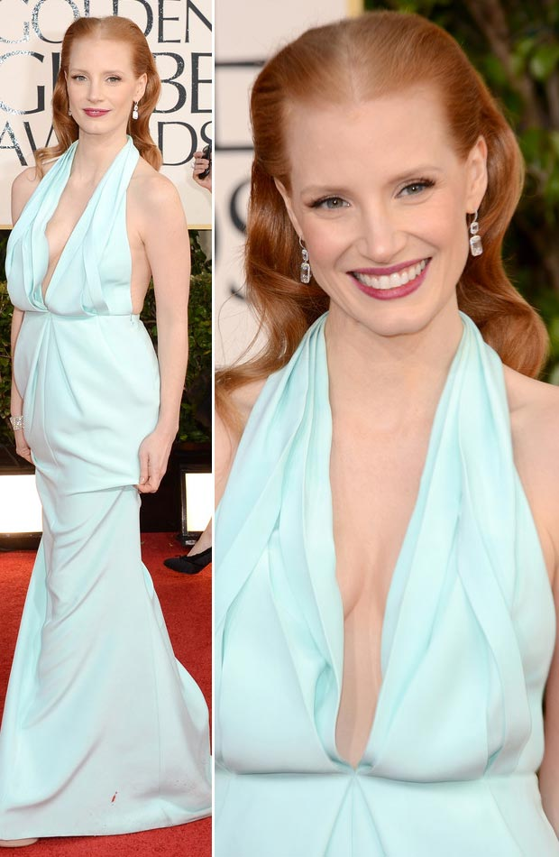 Jessica Chastain soft blue CK dress Golden Globes 2013