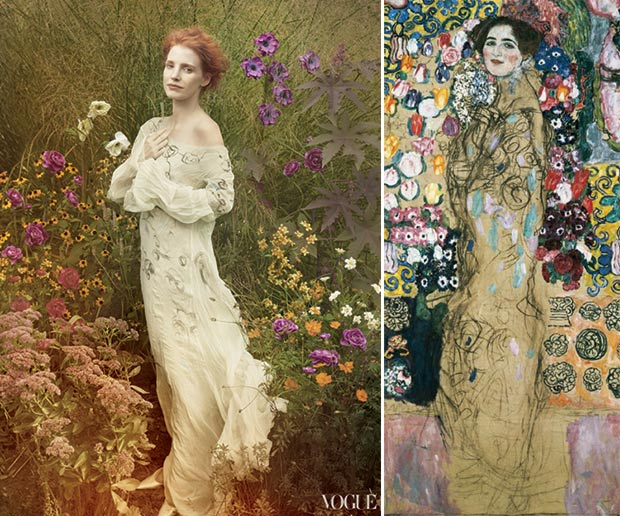 Jessica Chastain Vogue pictorial Gustav Klimt inspired
