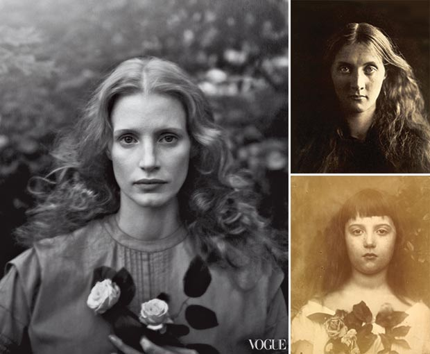 Jessica Chastain Vogue pictorial inspired Julia Margaret Cameron