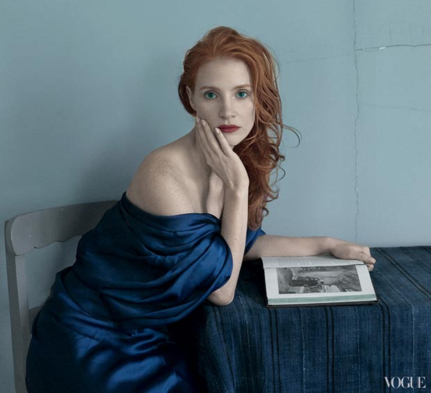 Jessica Chastain Vogue recreating classic art