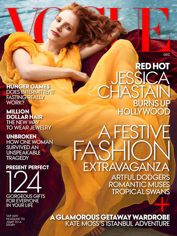 Jessica Chastain yellow dress Vogue US December 13 cover