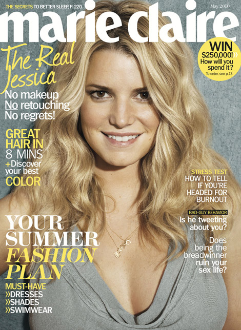 jessica simpson no makeup photo shoot. Jessica Simpson Marie Claire May 2010 cover