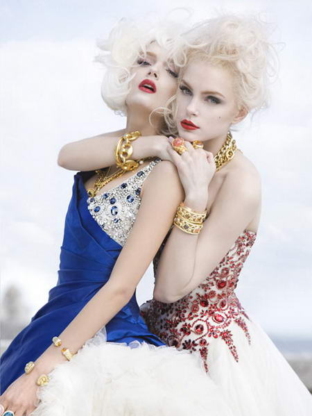 Jessica Stam and Lily Donaldson in V53 by Sebastian Faena