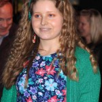 Jessie Cave Orange Makeup Green cardi