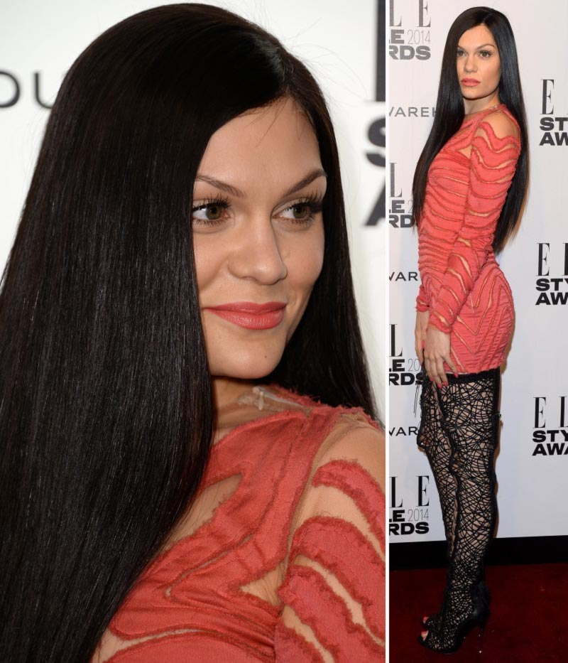 Jessie J fashion disaster coral Tom Ford dress coral lipstick
