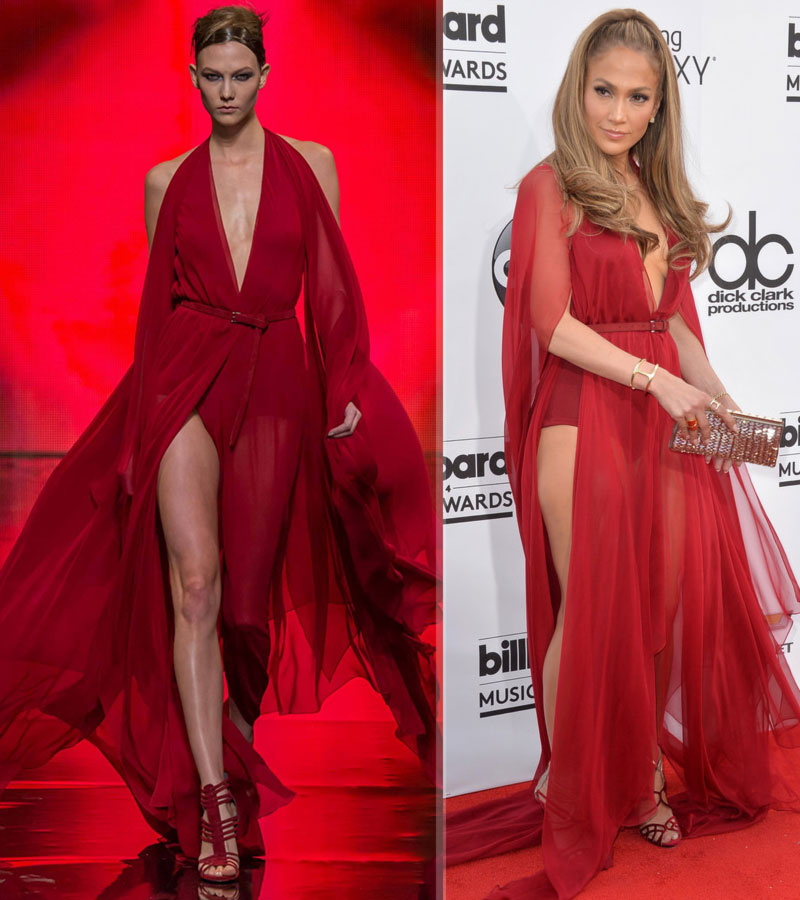 JLo 2014 BIllboard Music Awards red Donna Karan dress
