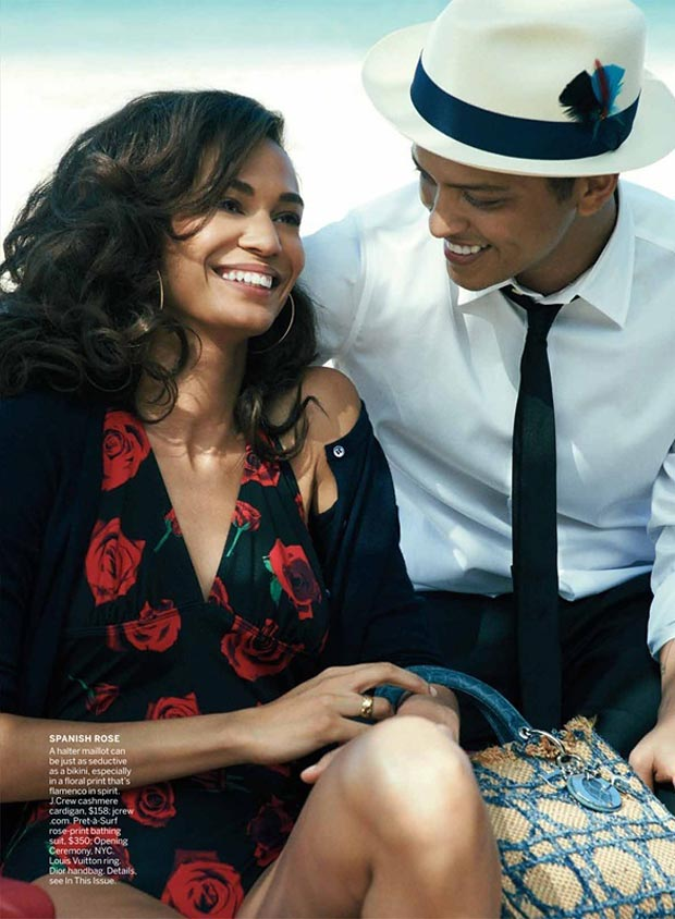 Joan Smalls having fun with Bruno Mars in Vogue