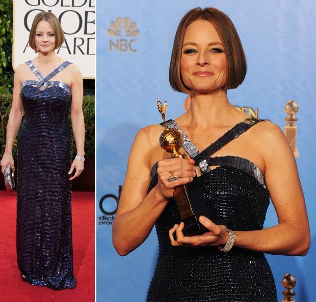 Jodie Foster Armani blue dress 2013 Golden Globes