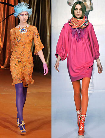 John Galliano Emilio Pucci colored tights