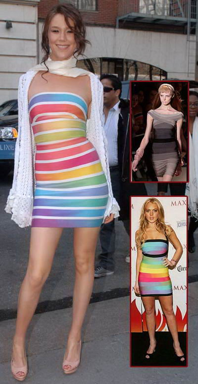 Outfit of the Day &#8211; Herve Leger Max Azria Rainbow Bandage Dress