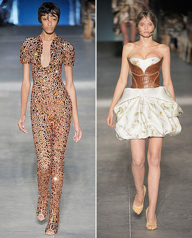 Jourdan Dunn and Abbey Lee Kershaw at Alexander McQueen spring summer 2009
